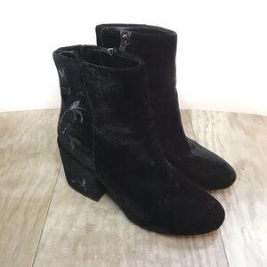 Renna Velvet Ankle Heeled Booties